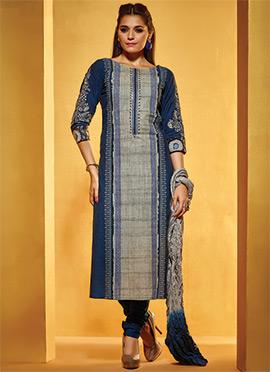 Blue N Grey Art Silk Churidar Suit