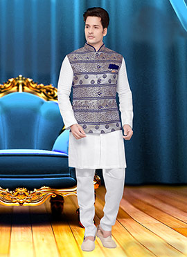 Blue N Grey Art Silk Nehru Jacket