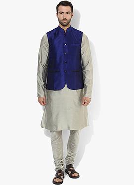 Blue N Grey Benarasi Cotton Silk Bandi Set