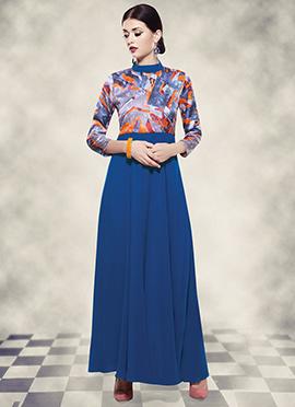 Blue N Grey Digital Printed Anarkali Gown