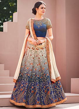 Blue N Grey Digital Printed Umbrella Lehenga