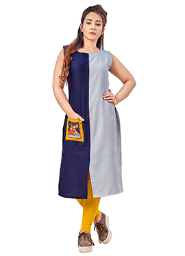 Blue N Grey Dual Tone Cotton Kurti