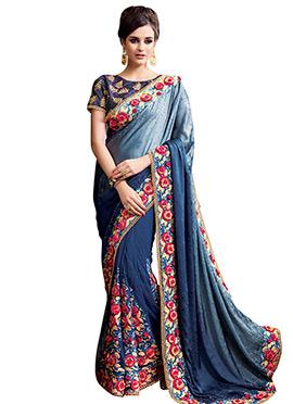Blue Net Art Silk Saree