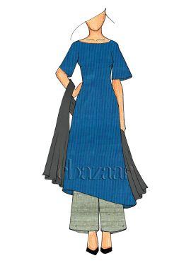 Blue N Grey Palazzo Suit