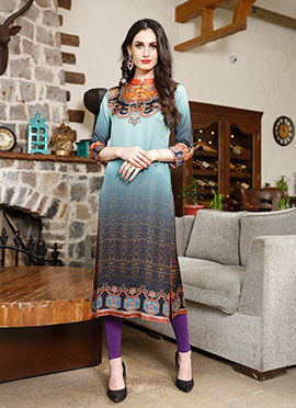 Blue N Grey Satin Blend Kurti