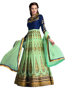 Blue N Light Green Anarkali Suit