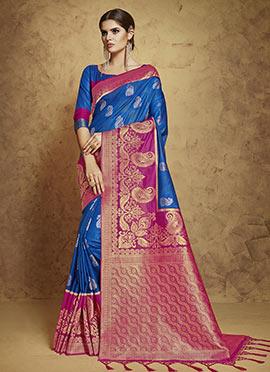 Blue N Magenta Art Silk Saree