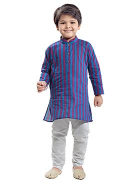Blue N Magenta Cotton Kids Kurta Pyjama
