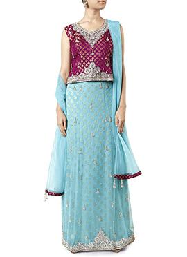 Blue N Magenta Embellished Lehenga Choli