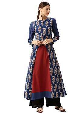 Blue N Maroon Cotton Kurti