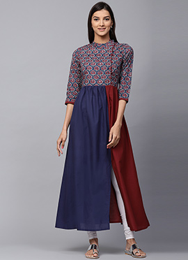 Blue N Maroon Cotton Long Kurti