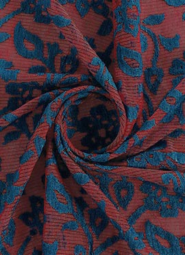 Blue N Maroon Embroidered Cotton Fabric