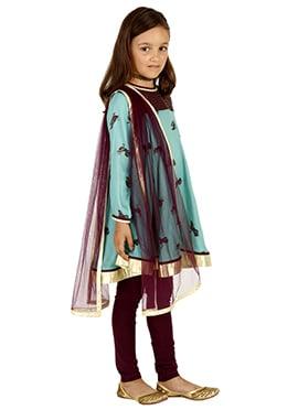 Blue N Maroon Taffeta Silk Viscose Kids Salwar
