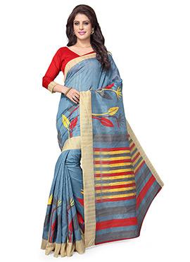 Blue N Multicolored Art Silk Saree