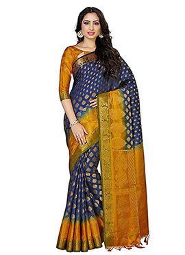 Blue N Mustard Art Kancheepuram Silk Saree
