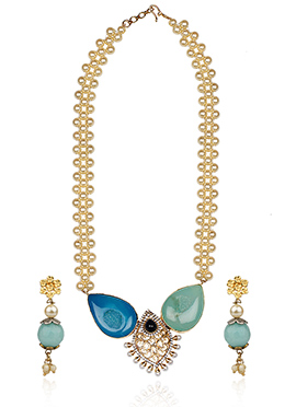 Blue N Off White Beads Necklace Set