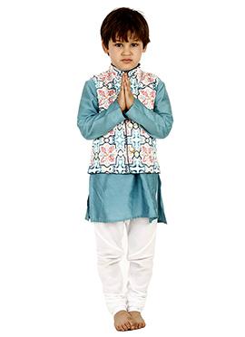 Blue N Off White Cotton Kids Bandi Set