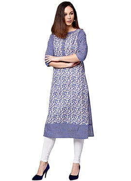 Blue N Off White Cotton Knee Length Kurti
