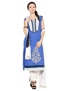 Blue N Off White Cotton Straight Pant Suit