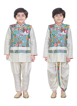 Blue N Off White Dhoti Kurta N Bandi Set Combo