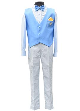 Fayon Blue N Off White Kids Vest Coat