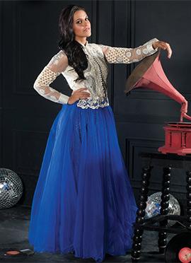 Blue N Off White Net Neha Dhupia Gown