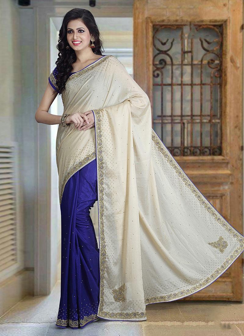 c3a1d0cf3d Buy Blue N Off White Pure Silk Half N Half Saree, Stones ...