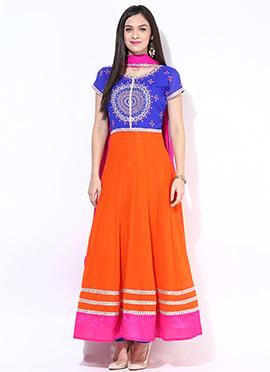 Blue N Orange Ankle Length Anarkali Suit