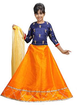 Blue N Orange Art Silk A Line Lehenga