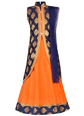 Blue N Orange Art Silk Kids Lehenga