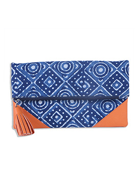 Blue N Orange Cotton Batik Patterned Clutch