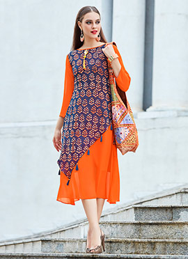 Blue N Orange Georgette Kurti
