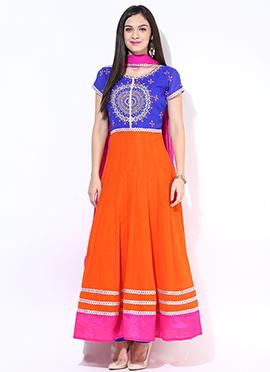 Blue N Orange Plus Size Ankle Length Anarkali