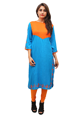 Blue N Orange Rayon Kurti