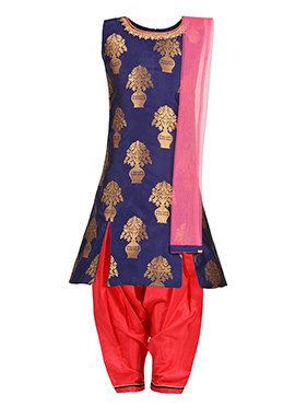 Blue N Pink Art Silk Kids Salwar Suit