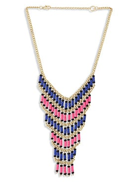 Blue N Pink Beads Layered Necklace