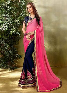 Blue N Pink Embroidered Half N Half Saree
