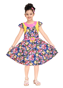 Blue N Pink Polyester Kids Gown