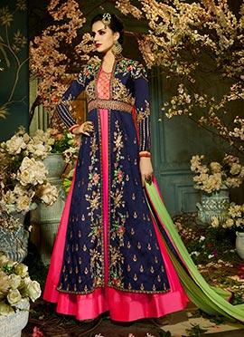 Blue N Pink Taffeta Silk Abaya Style Anarkali Suit