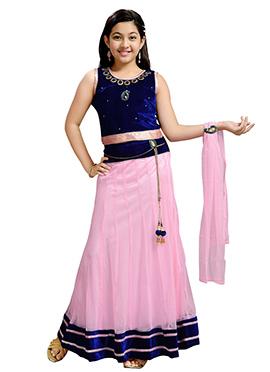 Blue N Pink Velvet Net Kids Lehenga