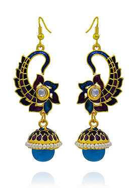 Blue N Purple Meenakari Dangler Earring