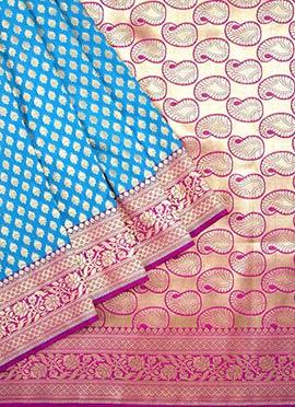 Blue N Rani Pink Benarasi Pure Silk Saree