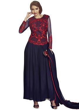 Blue N Red Anarkali Suit