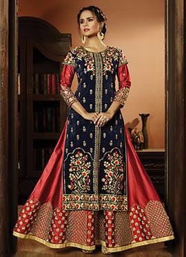 Blue N Red Art Silk Abaya Style Anarkali Suit