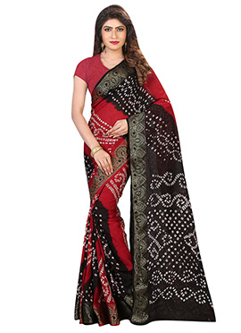 Black and Maroon Art Silk Cotton Bandhini Saree
