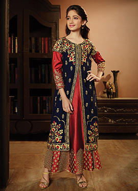 Blue N Red Art Silk Kids Anarkali Suit