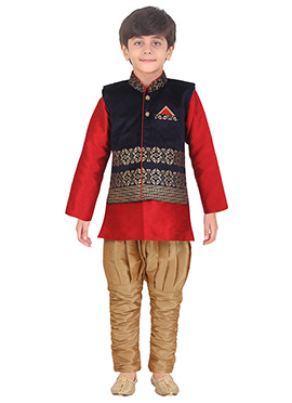 Blue N Red Art Silk Kids Bandi Set