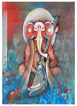 Blue N Red Ganesha Canvas