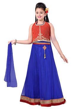 Blue N Red Kids A Line Lehenga Choli