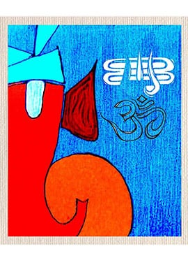 Blue N Red Om Canvas